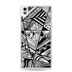 HTC Desire 816 etui czarno białe trójkąty