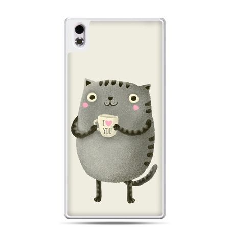 HTC Desire 816 etui kotek z kubkiem I Love You
