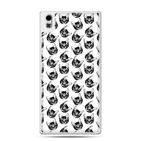 HTC Desire 816 etui czarno białe kotki