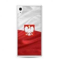Etui na telefon Xperia Z4 patriotyczne - flaga Polski z godłem