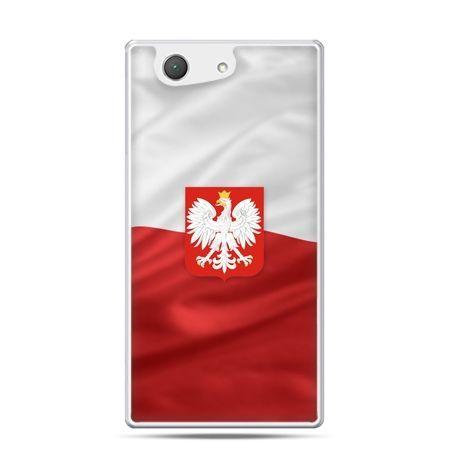 Etui na telefon Xperia Z4 compact patriotyczne - flaga Polski z godłem