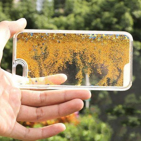 iPhone 6, 6s etui z ruchomym płynem w środku stardust złoty brokat.