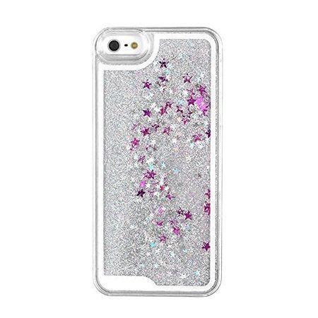 iPhone 4, 4s etui z ruchomym płynem w środku Stardust srebrny brokat.