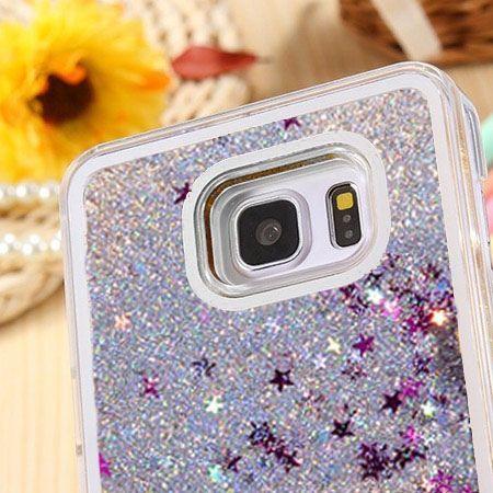 Galaxy S6 etui z ruchomym płynem w środku Stardust srebrny brokat.