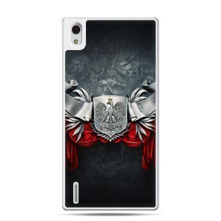 Etui na telefon Huawei P7 patriotyczne - stalowe godło