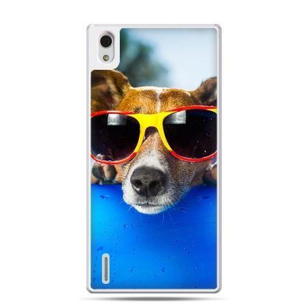 Huawei P7 etui pies w kolorowych okularach