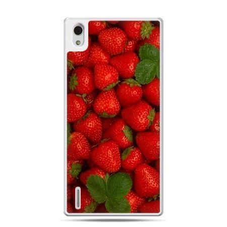 Huawei P7 etui czerwone truskawki