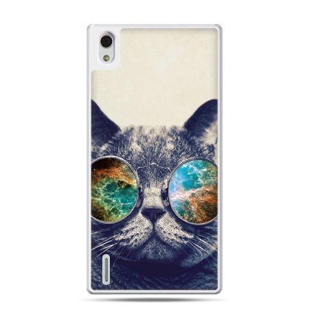 Huawei P7 etui kot w tęczowych okularach