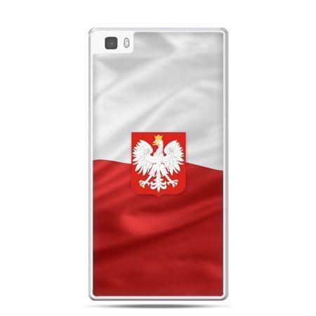 Etui na telefon Huawei P8 patriotyczne - flaga Polski z godłem