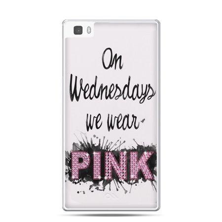 Huawei P8 etui z napisem pink