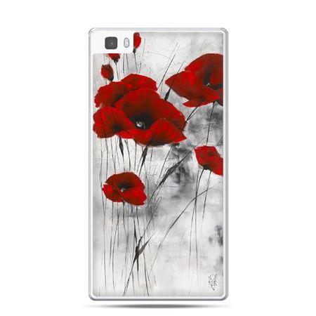 Etui na telefon Huawei P8 czerwone maki