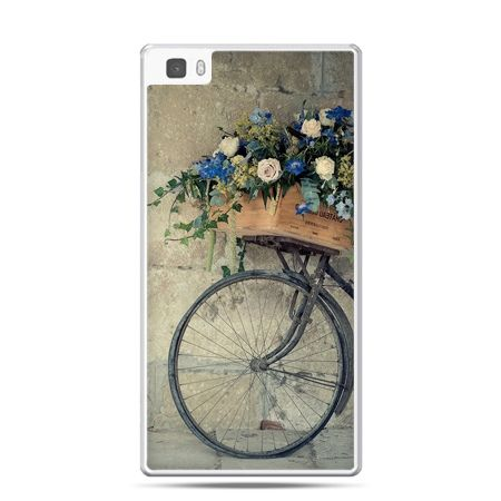 Huawei P8 etui rower z kwiatami