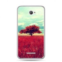 Xperia E4 etui czerwone drzewo