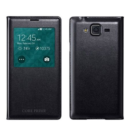 Galaxy Core Prime etui Flip S View z klapką czarne.