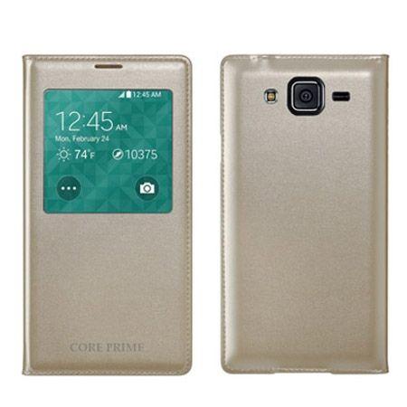 Galaxy Core Prime etui Flip S View z klapką złote.