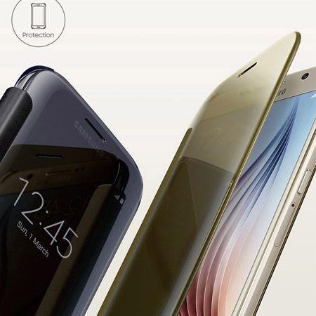 Samsung Galaxy A5 etui Flip Clear View złote z klapką.