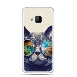 Etui na HTC One M9 Kot w tęczowych okularach