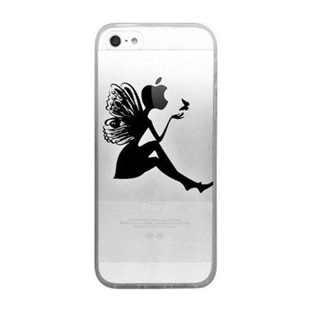 iPhone 5 ultra slim silikonowe przezroczyste etui kobieta motyl.