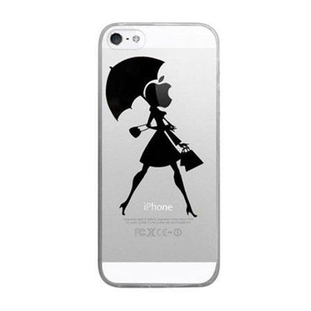 iPhone 5 ultra slim silikonowe przezroczyste etui kobieta z parasolem.