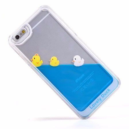 iPhone 6, 6s etui z ruchomym płynem w środku kaczuszki.