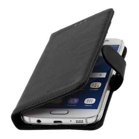 Skórzany futerał na Galaxy S7 Stilgut Portfel z klapką czarny.