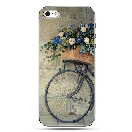 iPhone SE etui na telefon rower z kwiatami