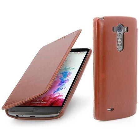 Skórzany pokrowiec na LG G3 Stilgut BOOK z klapką brązowy.