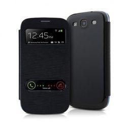 Etui na Samsung Galaxy S5 - flip dwa okienka z klapką - Czarny
