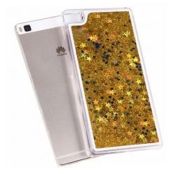 Huawei P8 Lite etui z ruchomym płynem w środku stardust brokat - złoty.