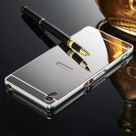 Mirror bumper case na Xperia M4 Aqua - Srebrny