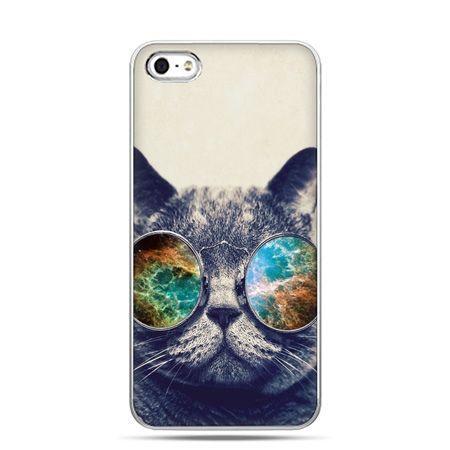 iPhone 5 , 5s etui na telefon kot w tęczowych okularach