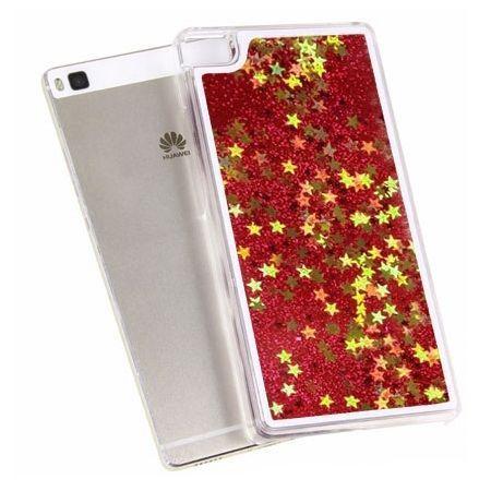 Huawei P8 etui z ruchomym płynem w środku stardust brokat czerwone.