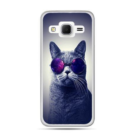 Etui na Galaxy J3 (2016r) kot hipster w okularach
