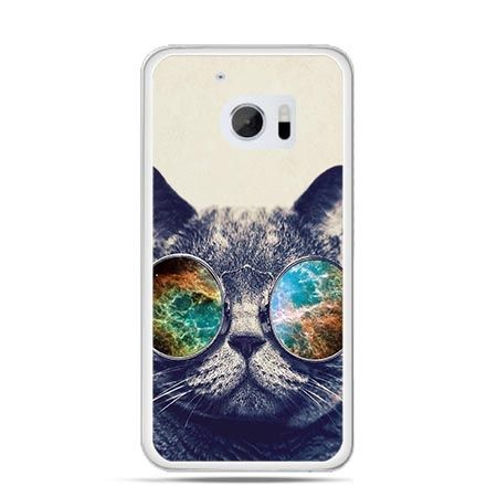Etui na telefon HTC 10 kot w tęczowych okularach
