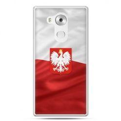 Etui na telefon Huawei Mate 8 patriotyczne - flaga Polski z godłem