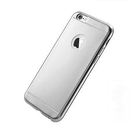 Etui na iPhone 6 / 6s silikonowe platynowane Full - srebrne.