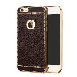 Etui na iPhone 6 / 6s silikonowe platynowane TPU Slim skóra - brązowe.