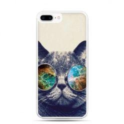 Etui na telefon iPhone 7 Plus - kot w tęczowych okularach
