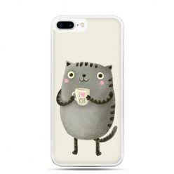 Etui na telefon iPhone 7 Plus - kotek z kubkiem I Love You