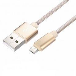 Rock Metalic aluminiowy kabel pleciony Micro-USB - 1m złoty.