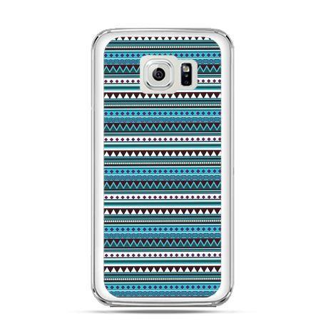 Etui na Galaxy S6 Edge Plus - niebieski wzorek poziomy