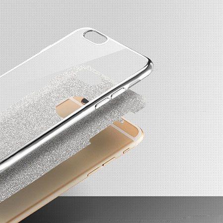 Etui na iPhone 7  silikonowe platynowane Brokat SLIM - różowy.