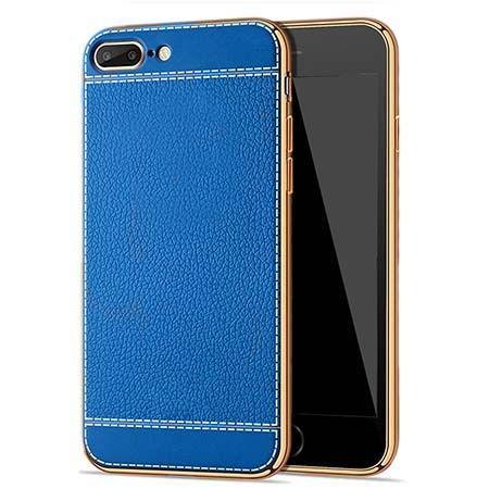 Etui na iPhone 7 Plus silikonowe platynowane TPU Slim skóra - niebieskie.