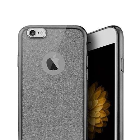 iPhone SE etui brokat silikonowe platynowane SLIM tpu - grafitowy.