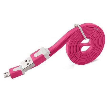 Płaski kabel do ładowania micro USB 1m - Różowy.