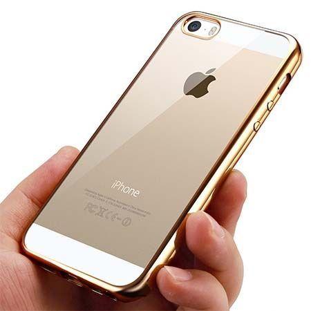iPhone 5 i 5s silikonowe etui platynowane SLIM - złoty.