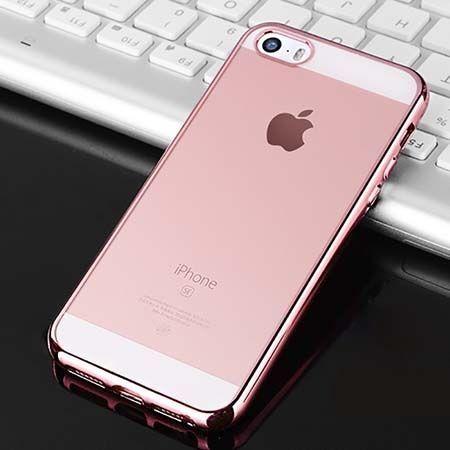 iPhone 5, 5s silikonowe etui platynowane SLIM - różowy.