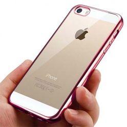 Silikonowe etui na iPhone SE  platynowane SLIM - różowy.