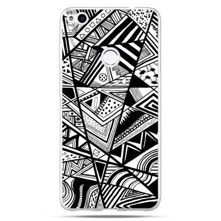 Etui na Huawei P9 Lite 2017 - czarno białe trójkąty