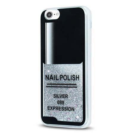 Etui na iPhone 7 z ruchomym płynem w środku Nails - srebrny. PROMOCJA !!!